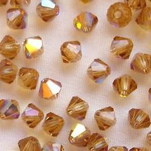 4mm Preciosa Crystal Bicone Light Colorado Topaz AB - 144